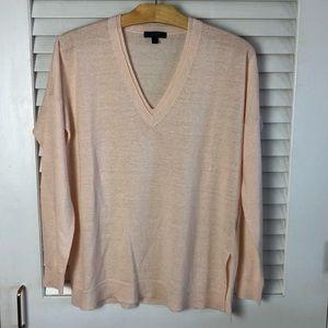 Jcrew VNeck Peachy Pink Sweater